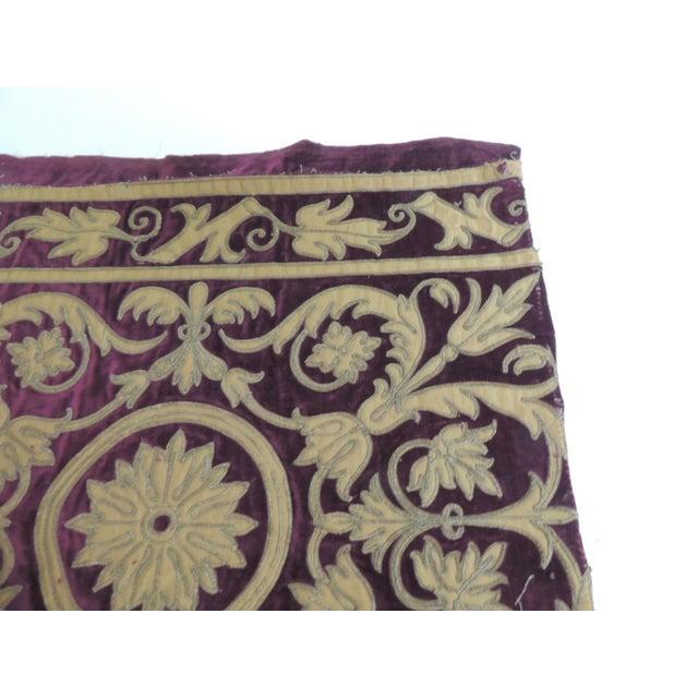 Hollywood Regency Antique Italian Gold and Burgundy Silk on Silk Velvet Applique Textile Panel For Sale - Image 3 of 5