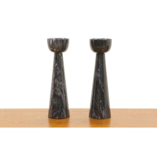 Pair of Black Marble Candlesticks Imported by Raymor, Italy, 1950s, Excellent Preview