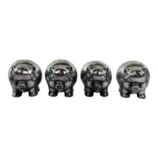 Metallic Painted Pig Figurines - Set of 4 For Sale
