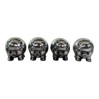 Metallic Painted Pig Figurines - Set of 4