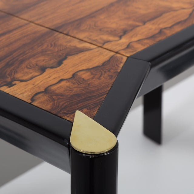 An Italian Ebonised Wood and Brass Games Table 1950s - Image 9 of 10