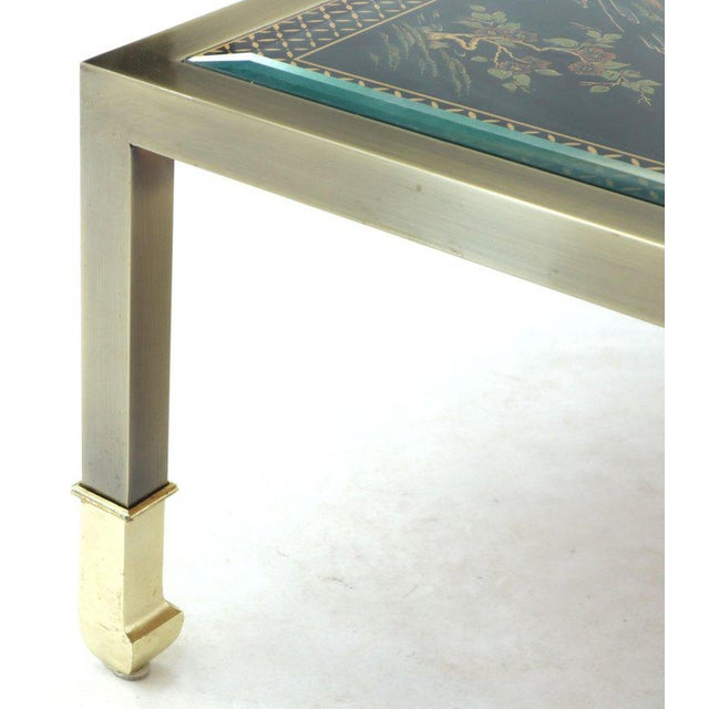 Mid-Century Modern Brass and Gold Decorated Reverse Painted Glass Top Square Coffee Table For Sale - Image 3 of 13