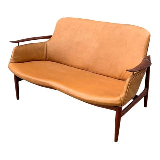 1950s Finn Juhl Niels Vodder Nv 53 Sofa in Leather For Sale