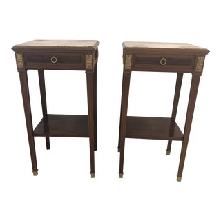 Antique French Directoire Nightstands or End Tables -Pair For Sale