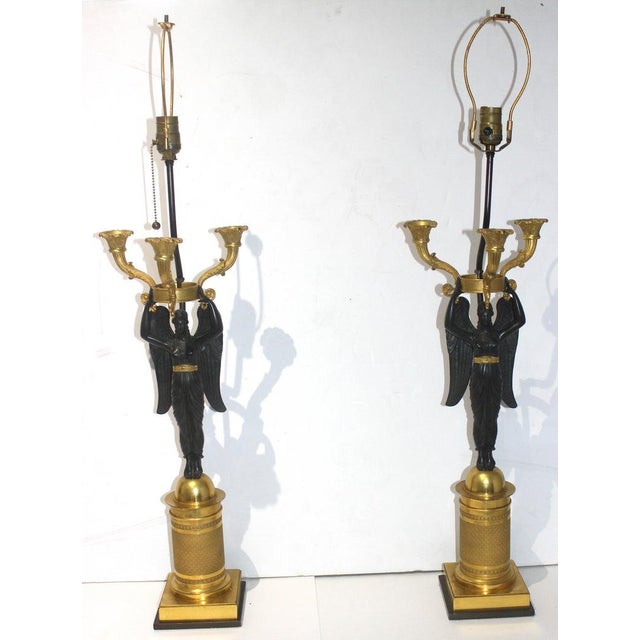 Antique French Empire Bronze Candelabra Lamps - a Pair For Sale - Image 9 of 13
