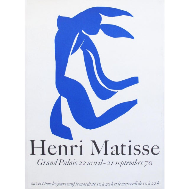 A poster for an exhibition of the work of Henri Matisse held at the Grand Palais in Paris in 1970. Poster is lined and in...