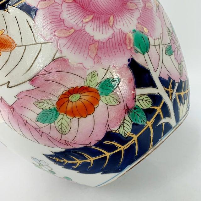 Blue Vintage 1950s Tobacco Leaf Porcelain China Vase Jar Chinese Export For Sale - Image 8 of 10