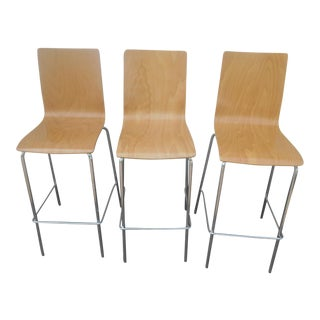 Beaufurn Molded Birch & Chrome Barstools - Set of 3 For Sale