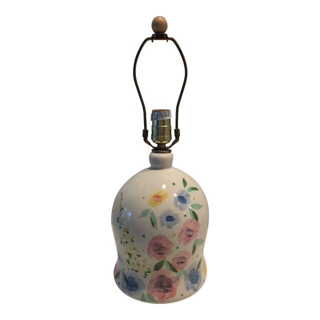 1980s Floral Painted Pottery Lamp For Sale