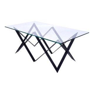 "Custom ""X"" Base Iron & Glass Coffee Table For Sale"