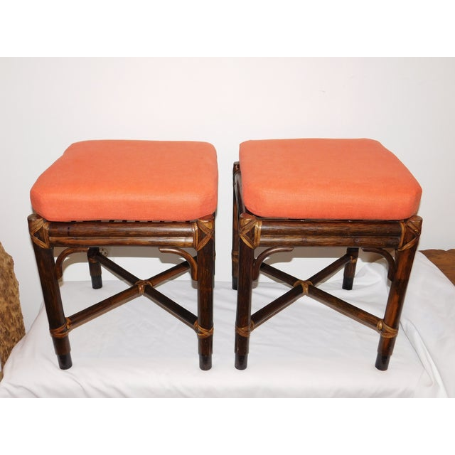 Vintage McGuire Rattan Benches - Pair - Image 2 of 10