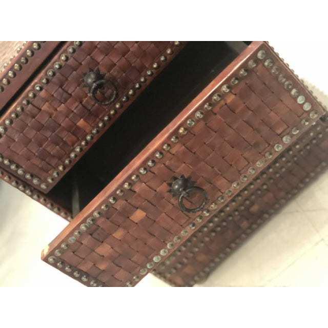 2010s Boho Chic Brown Weaved Leather Chest of Drawers For Sale - Image 5 of 7