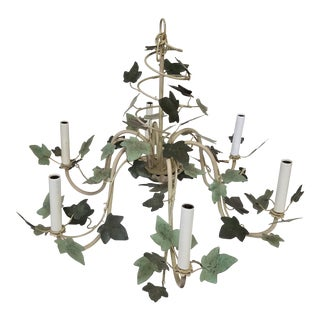 1960s Five Arm Ivory Iron and Tole Ivy Chandelier For Sale