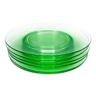 Vintage Green Imperial Depression Glass Luncheon Plates - Set of 6 For Sale