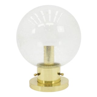 One of Ten Limburg Glass and Brass Flush Mount Globe Lights or Wall Sconces For Sale