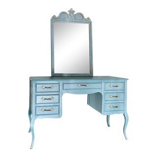 1980s Solid Wood Coastal Light Blue French Provincial Vanity/Desk With Detached Mirror For Sale