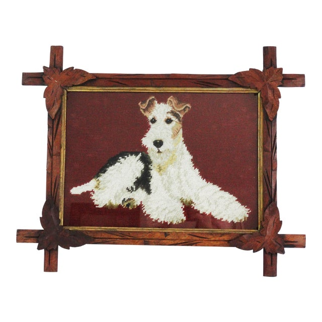 Antique Black Forest Framed English Terrier Dog Needlepoint - Image 1 of 7