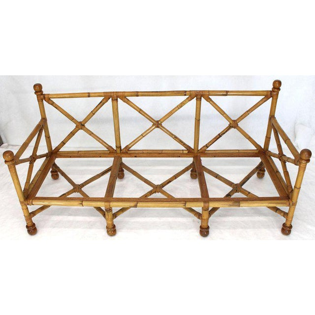 1970s Heavy Gage Thick Bamboo and Leather X-Base Sofa Frame For Sale - Image 5 of 12