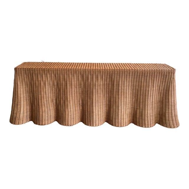 Draped Wicker Console Table For Sale