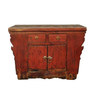 Distressed Red Lacquer Low Console Bench Table Cabinet For Sale