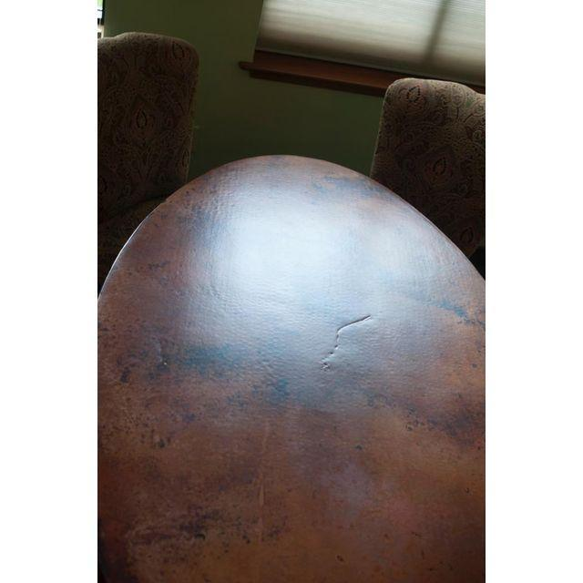 Arhaus Oval Copper Rod Iron Legged Dining Table - Image 4 of 7