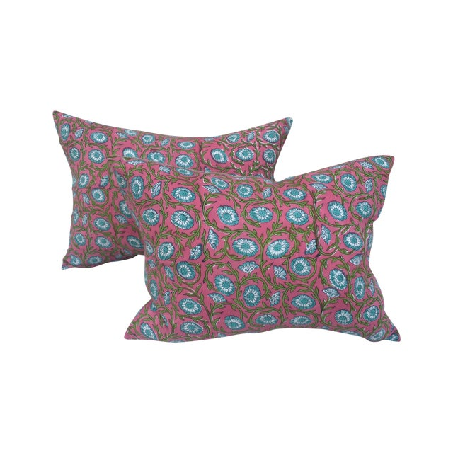 Hand-Blocked Pink Indian Pillows - A Pair - Image 1 of 6