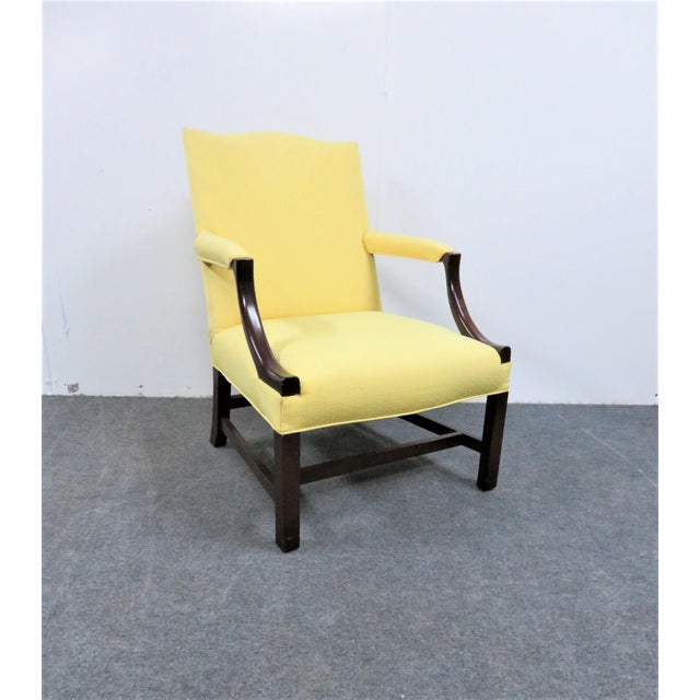 Wood 1940s Chippendale Yellow Upholstered Mahogany Library Chair For Sale - Image 7 of 7
