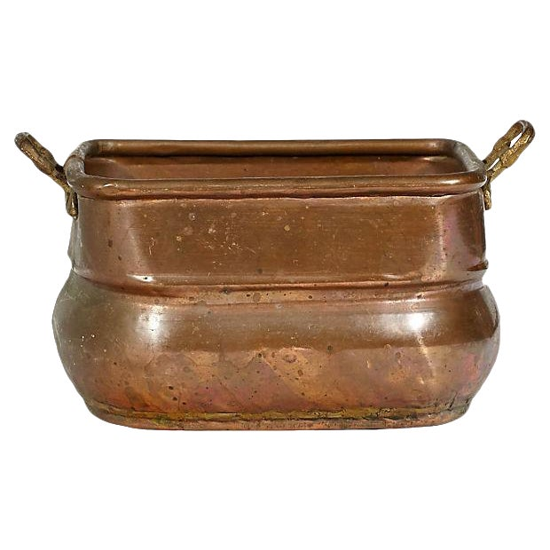 Rectangular Copper Handled Utility Bowl For Sale