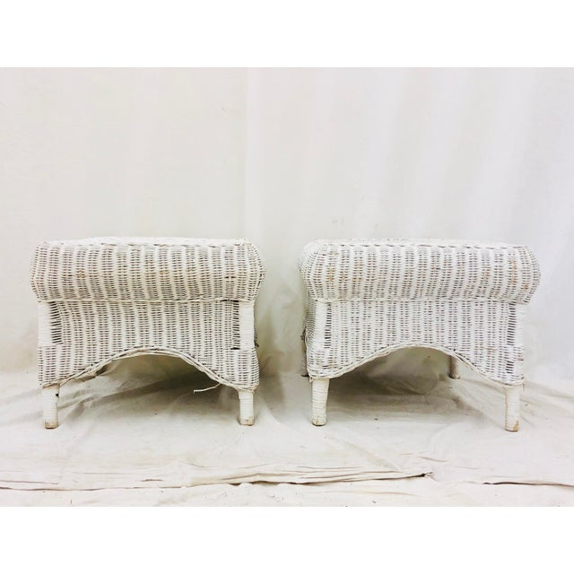 Adirondack Pair Vintage Woven Wicker Ottomans For Sale - Image 3 of 10