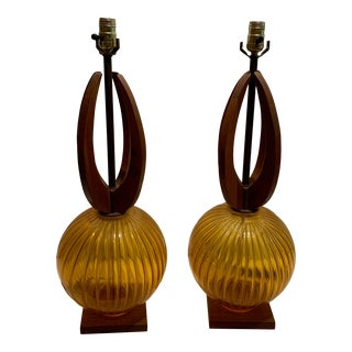 1970s Mid Century Teak Wood and Orange Glass Lamps - a Pair For Sale