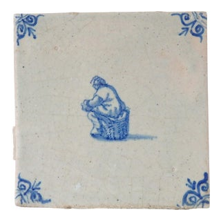 Antique Delft Blue White Porcelain Wall Tile For Sale