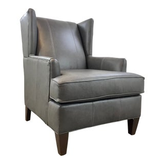 Modern Gray Leather Club Chair For Sale