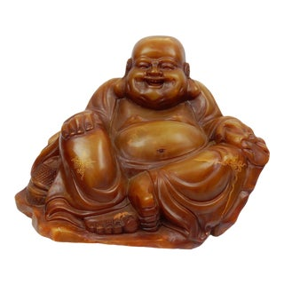 Antique Chinese Intricately Carved Soapstone Buddha Statue For Sale
