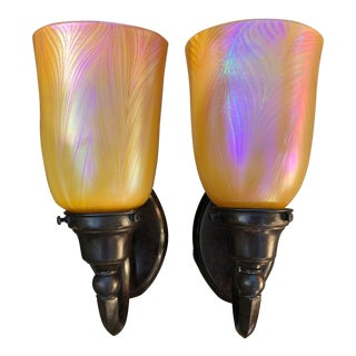 Antique Bronze With Iridescent Coral Glass Shades Wall Sconces - a Pair For Sale