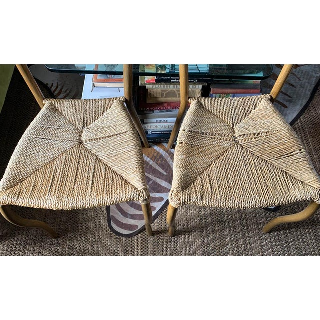Pair, Mid Century Chairs With Rope Seats For Sale - Image 9 of 12