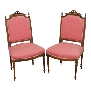 French Louis XVI Style Pair of Carved Walnut Frame Side Chairs