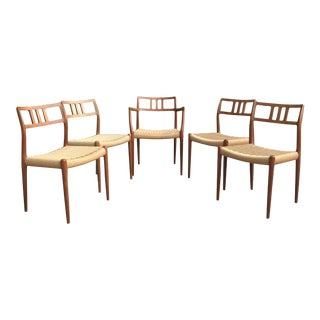 Mid Century Modern Niels Otto Moller for j.l. Møller Dining Chairs - Set of 5 For Sale