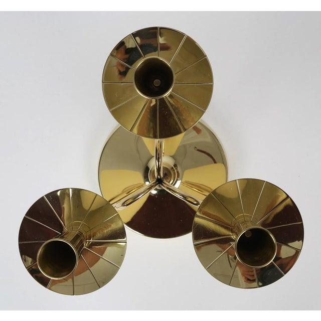 Gold 1950's VINTAGE TOMMI PARZINGER SOLID BRASS CANDELABRA- A PAIR For Sale - Image 8 of 10