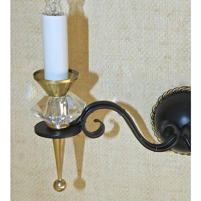 1930s Art Deco Brass Crystal and Painted Iron Sconces - a Pair For Sale In Palm Springs - Image 6 of 11