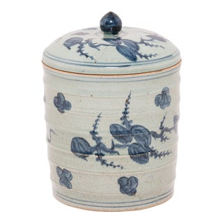 Blue and White Tea Leaf Canister For Sale