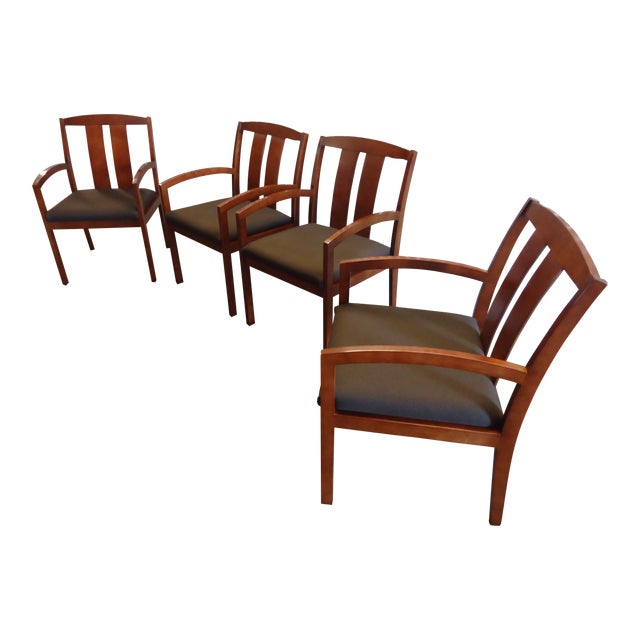 Kimball Dining Arm Chairs With Brown Fabric - Set of 4 For Sale