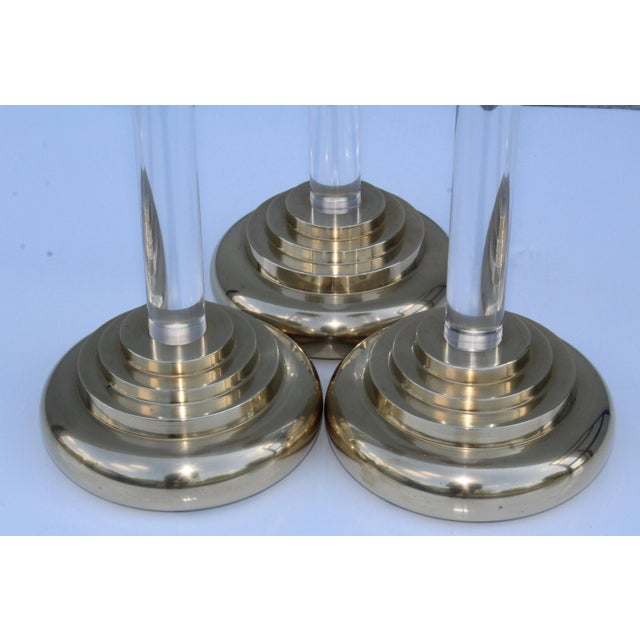 Gold 1980s Lucite and Brass Large Candleholders For Sale - Image 8 of 13
