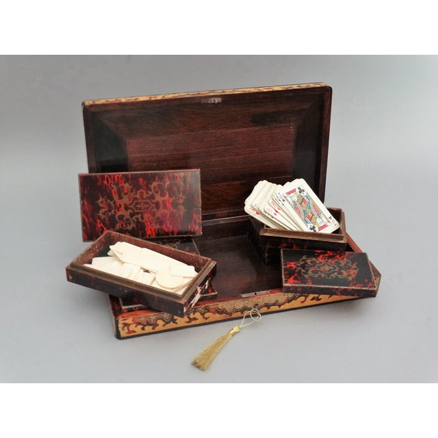 Red 19th-Century French Playing Cards Box, Lock & Key, Counters For Sale - Image 8 of 8