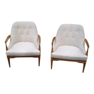 Kofod Larsen Danish Lounge Chairs With Sculptural Arms and Brass Accents - a Pair