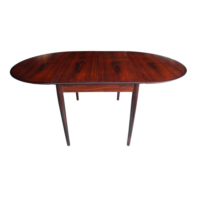 Danish Modern Drop Leaf Solid Rosewood Dining Table by Henry Rosengren Hansen For Sale