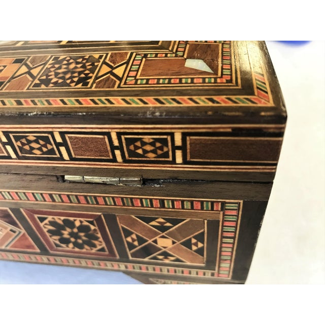 Turkish Inlaid Marquetry Mosaic Box With Key For Sale - Image 11 of 13