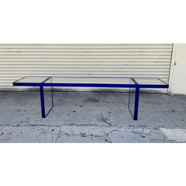 Custom Bench in Deep Blue and Clear Lucite by Cain Modern For Sale - Image 9 of 13