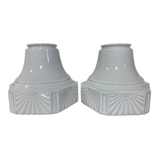 Antique Large Glass Art Deco Skyscraper Shades - a Pair For Sale