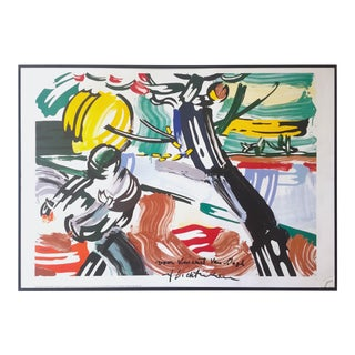 "Rare Lmtd Edtn Lichtenstein Homage to Van Gogh Framed Lithograph Print Poster "" the Sower "" 1990 For Sale"