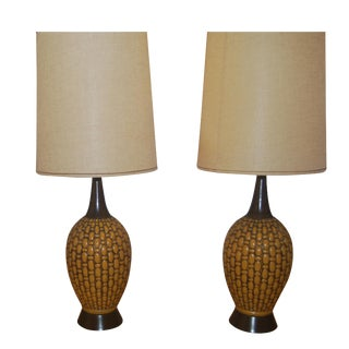 Mid-Century Table Lamps With Shades - a Pair For Sale